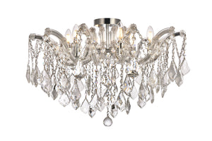 "Maria 24"" Crystal Flush Mount with 6 Lights - Chrome Finish"