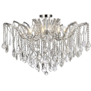 Maria 36 Crystal Flush Mount With 8 Lights - Chrome Finish Flush Mount