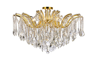 "Maria 36"" Crystal Flush Mount with 8 Lights - Gold Finish"