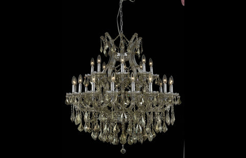 "36"" Maria Theresa Chandelier with 24 lights - Golden Teak Finish  / Royal Cut Crystal"