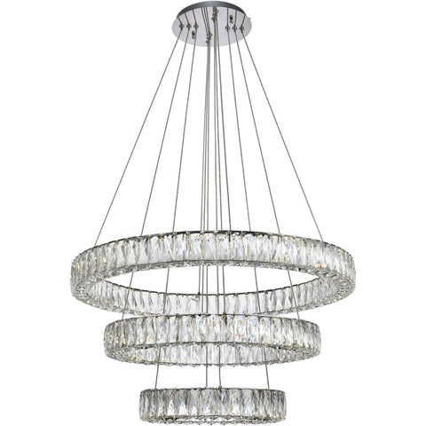 Monroe 31.5 Pendant Chandelier With Led Lights - Chrome Finish Chandelier