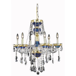 Alexandria 24 Crystal Chandelier With 6 Lights - Blue Finish And Swarovski Elements Crystal Chandelier