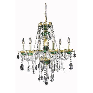 Alexandria 24 Crystal Chandelier With 6 Lights - Green Finish And Swarovski Elements Crystal Chandelier