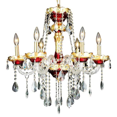 Alexandria 24 Crystal Chandelier With 6 Lights - Gold Finish And Swarovski Elements Crystal Chandelier