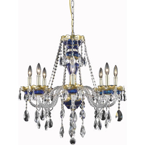 Alexandria 26 Crystal Chandelier With 8 Lights - Blue Finish And Swarovski Elements Crystal Chandelier