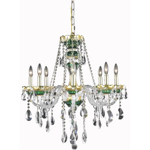 Alexandria 26 Crystal Chandelier With 8 Lights - Green Finish And Swarovski Elements Crystal Chandelier