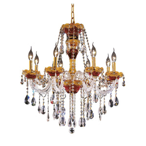 Alexandria 26 Crystal Chandelier With 8 Lights - Gold Finish And Swarovski Elements Crystal Chandelier