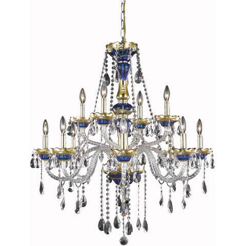 Alexandria 33 Crystal Pendant Chandelier With 12 Lights - Blue Finish And Swarovski Elements Crystal Chandelier
