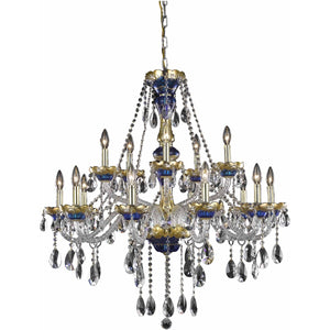 Alexandria 35 Crystal Foyer Pendant Chandelier With 15 Lights - Blue Finish And Swarovski Elements Crystal Chandelier
