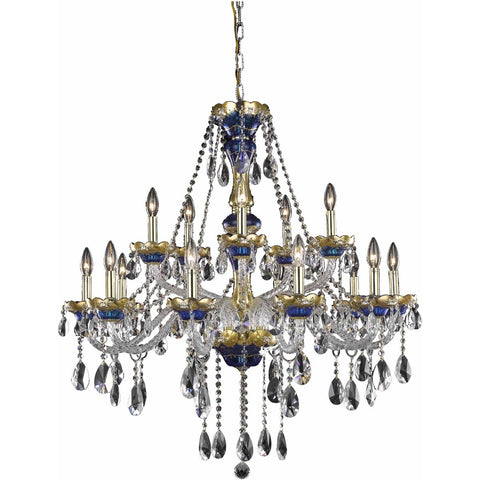 Alexandria 35 Crystal Foyer Pendant Chandelier With 15 Lights - Blue Finish And Spectra Swarovski Crystal Chandelier