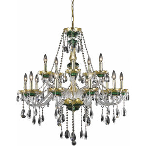 Alexandria 35 Crystal Foyer Pendant Chandelier With 15 Lights - Green Finish And Swarovski Elements Crystal Chandelier