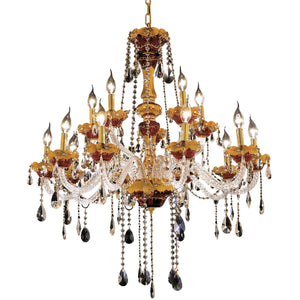 Alexandria 35 Crystal Foyer Pendant Chandelier With 15 Lights - Gold Finish And Swarovski Elements Crystal Chandelier