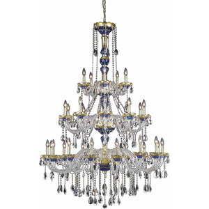 Alexandria 45 Crystal Pendant Chandelier With 30 Lights - Blue Finish And Royal Cut Crystal Chandelier