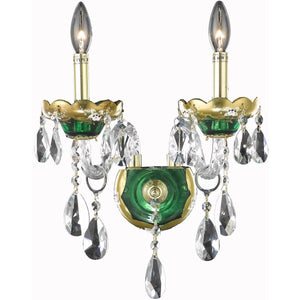 Alexandria 12 Crystal Wall Sconce With 2 Lights - Green Finish And Swarovski Elements Crystal Wall Sconce