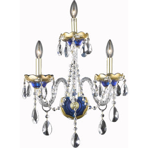 Alexandria 16 Crystal Wall Sconce With 3 Lights - Blue Finish And Elegant Cut Crystal Wall Sconce