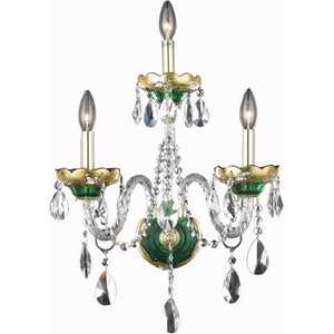 Alexandria 16 Crystal Wall Sconce With 3 Lights - Green Finish And Elegant Cut Crystal Wall Sconce