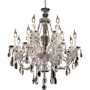 Alexandria 28 Crystal Chandelier With 12 Lights - Chrome Finish And Swarovski Elements Crystal Chandelier
