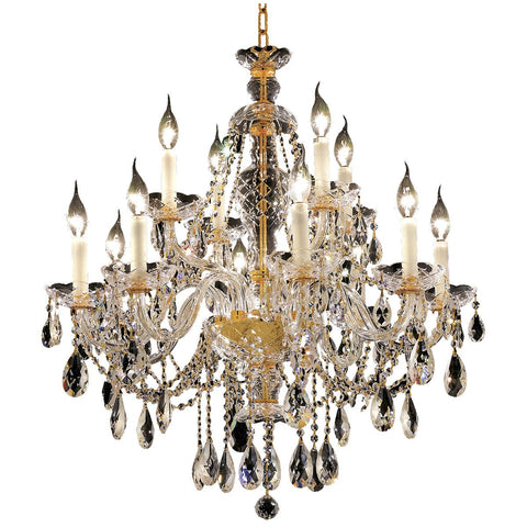 Alexandria 28 Crystal Chandelier With 12 Lights - Gold Finish And Swarovski Elements Crystal Chandelier