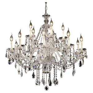Alexandria 35 Crystal Foyer Pendant Chandelier With 15 Lights - Chrome Finish And Swarovski Elements Crystal Chandelier