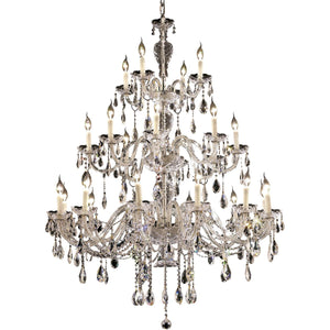 Alexandria 45 Crystal Foyer Pendant Chandelier With 24 Lights - Chrome Finish And Spectra Swarovski Crystal Chandelier
