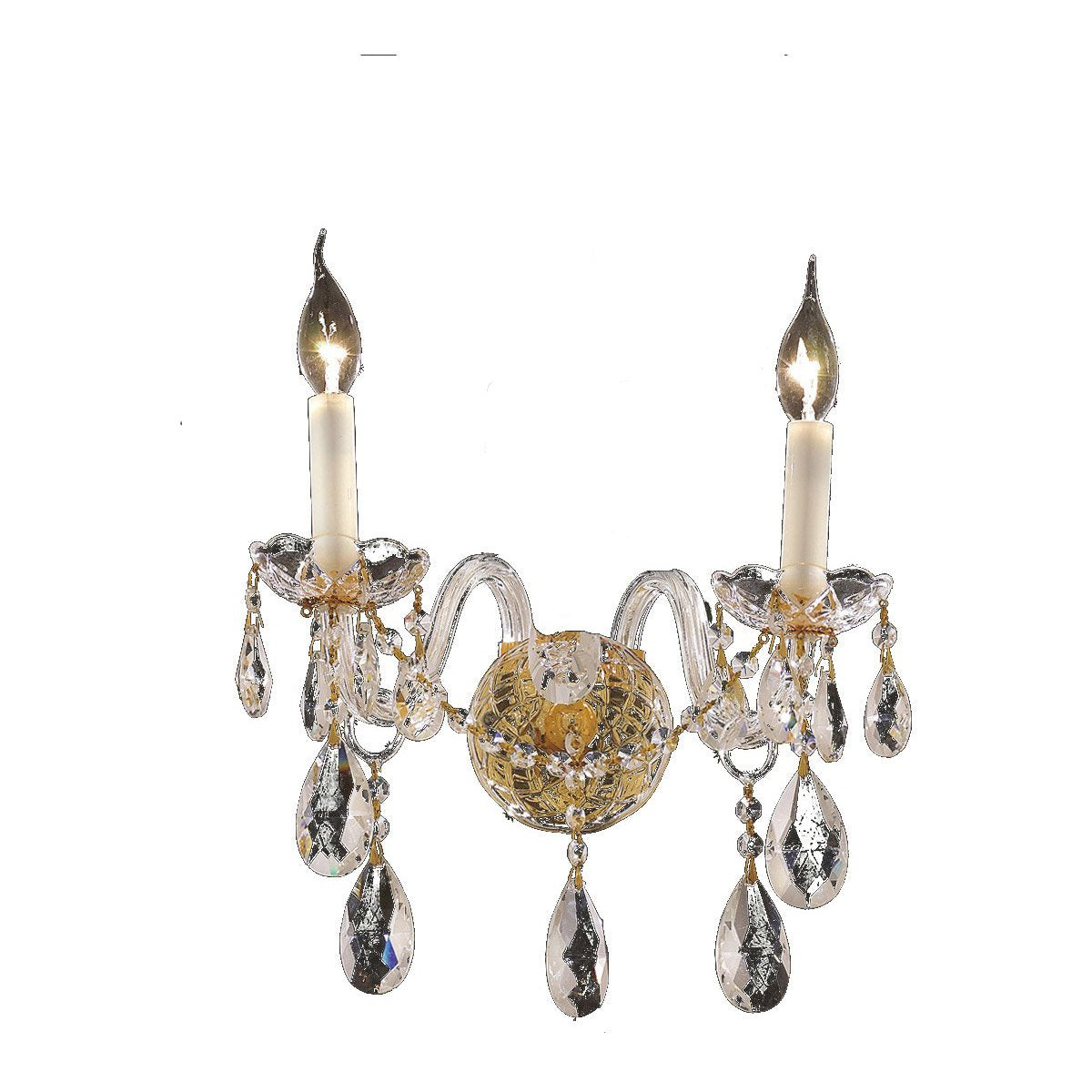 Alexandria 13 Crystal Wall Sconce With 2 Lights - Gold Finish And Elegant Cut Crystal Wall Sconce