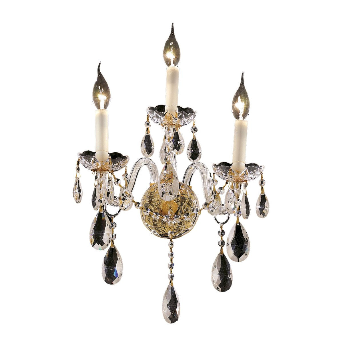 Alexandria 13 Crystal Wall Sconce With 3 Lights - Gold Finish And Spectra Swarovski Crystal Wall Sconce