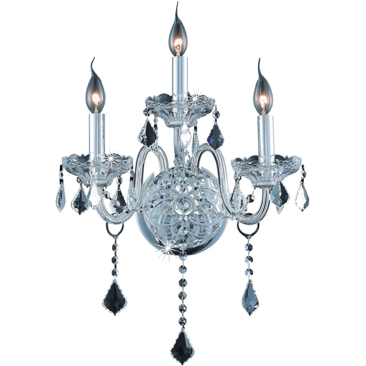 Verona 14 Crystal Wall Sconce With 3 Lights - Chrome Finish And Clear / Spectra Swarovski Crystal Wall Sconce