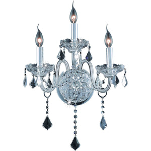 Verona 14 Crystal Wall Sconce With 3 Lights - Chrome Finish And Clear / Elegant Cut Crystal Wall Sconce