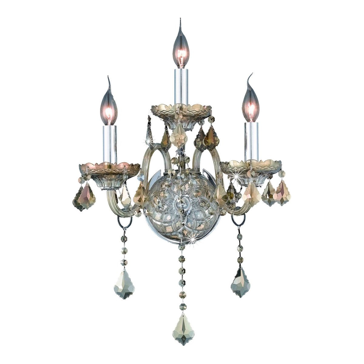 Verona 14 Crystal Wall Sconce With 3 Lights - Golden Teak Finish And Smokey / Royal Cut Crystal Wall Sconce