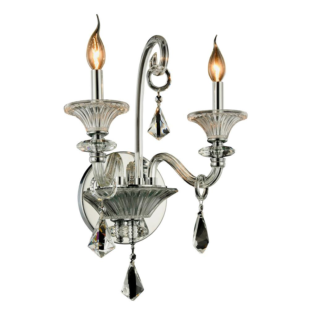 Aurora 16 Wall Sconce With 2 Lights - Chrome Finish Wall Sconce