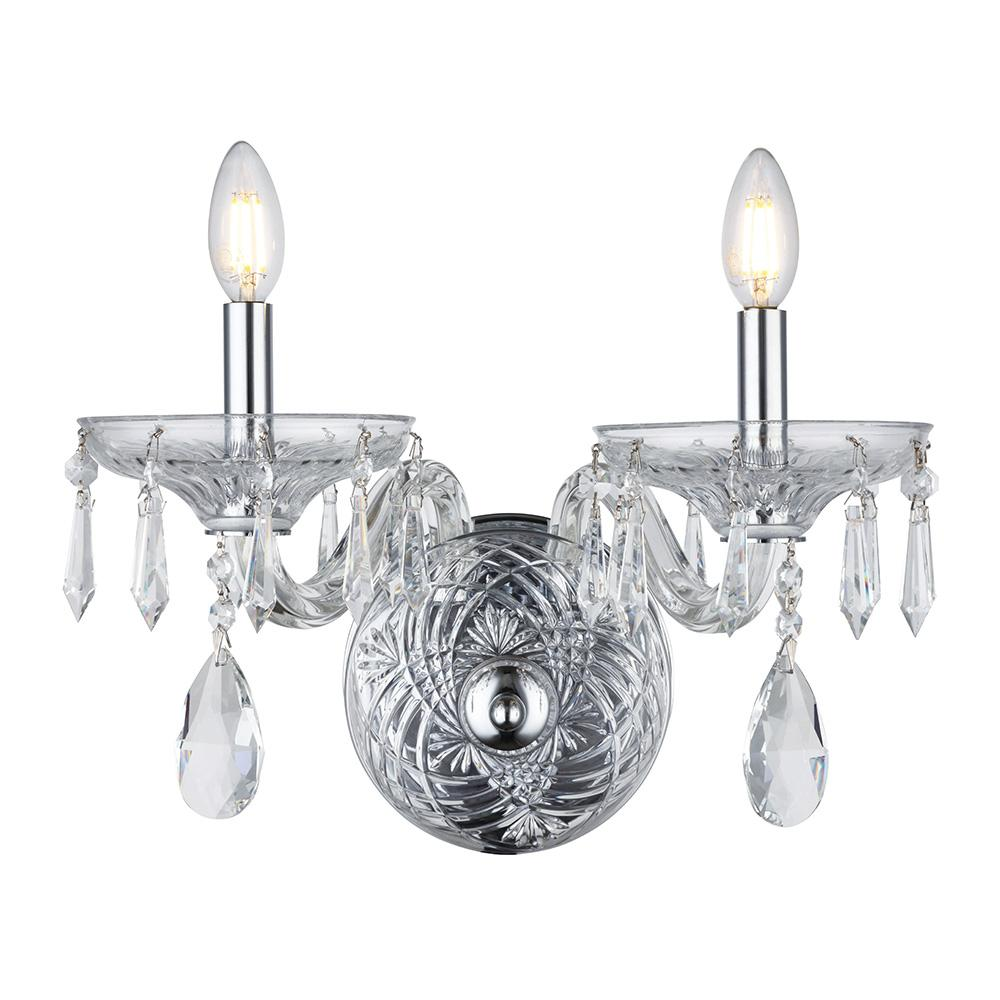 Elliott 15 Crystal Wall Sconce With 2 Lights - Chrome Finish Wall Sconce