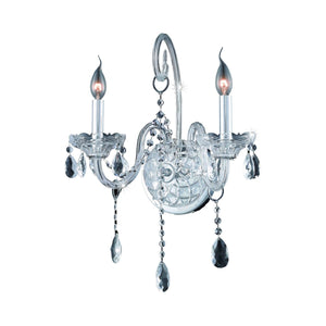Verona 14 Crystal Wall Sconce With 2 Lights - Chrome Finish And Clear / Swarovski Elements Crystal Wall Sconce