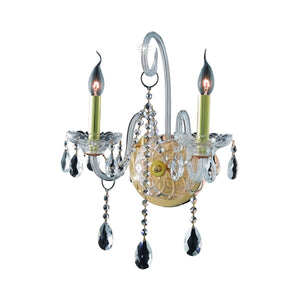 Verona 14 Crystal Wall Sconce With 2 Lights - Gold Finish And Clear / Spectra Swarovski Crystal Wall Sconce