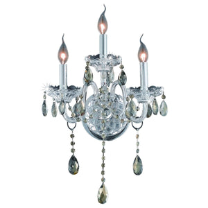 Verona 14 Crystal Wall Sconce With 3 Lights - Chrome Finish And Smokey / Swarovski Elements Crystal Wall Sconce