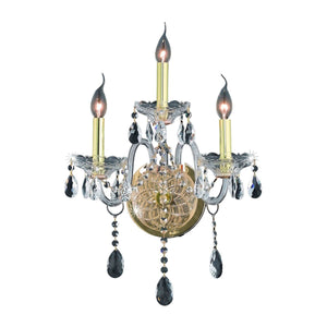 Verona 14 Crystal Wall Sconce With 3 Lights - Gold Finish And Clear / Swarovski Elements Crystal Wall Sconce