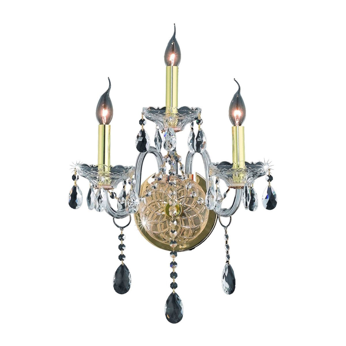 Verona 14 Crystal Wall Sconce With 3 Lights - Gold Finish And Clear / Royal Cut Crystal Wall Sconce