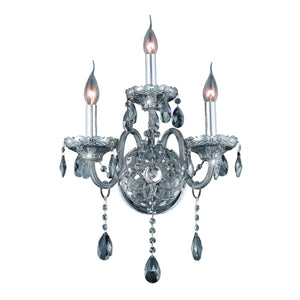 Verona 14 Crystal Wall Sconce With 3 Lights - Silver Shade Finish And Grey / Swarovski Elements Crystal Wall Sconce