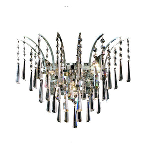 Victoria 16 Crystal Wall Sconce With 3 Lights - Chrome Finish And Royal Cut Crystal Wall Sconce