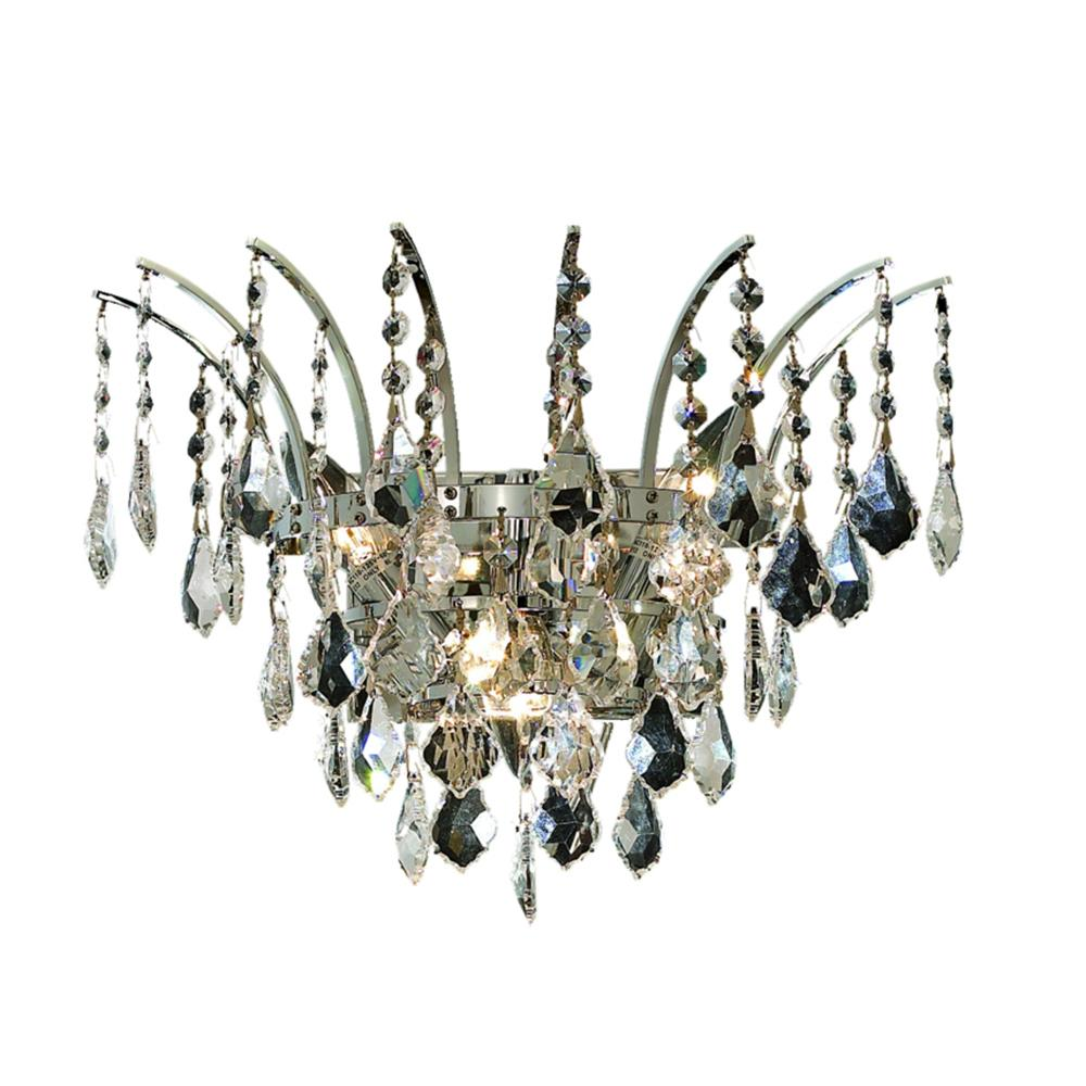 Victoria 16 Crystal Wall Sconce With 3 Lights - Chrome Finish And Elegant Cut Crystal Wall Sconce