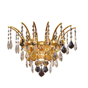 Victoria 16 Crystal Wall Sconce With 3 Lights - Gold Finish And Elegant Cut Crystal Wall Sconce