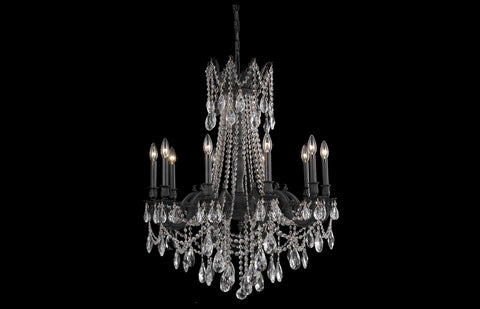 "Rosalia 28"" Chandelier with 10 Lights - Dark Bronze Finish / Royal Cut Crystal"