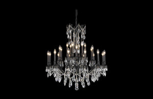 "Rosalia 36"" Chandelier with 24 Lights - Dark Bronze Finish / Royal Cut Crystal"
