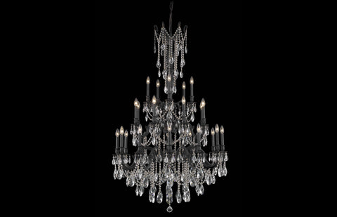 "Rosalia 38"" Chandelier with 25 Lights - Dark Bronze Finish / Royal Cut Crystal"