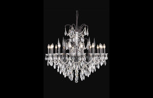 "Athena 35"" Chandelier with 16 Lights - Dark Bronze Finish / Royal Cut Crystal"