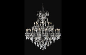 "Athena 44"" Chandelier with 24 Lights - Dark Bronze Finish / Royal Cut Crystal"