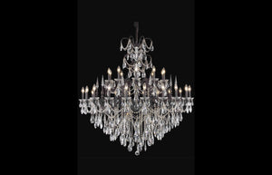 "Athena 53"" Chandelier with 30 Lights - Dark Bronze Finish / Royal Cut Crystal"
