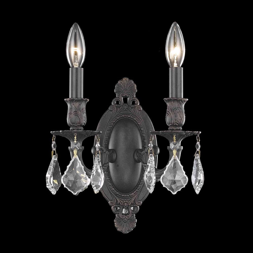 Rosalia 9 Crystal Wall Sconce With 2 Lights - Dark Bronze Finish And Clear / Swarovski Elements Crystal Wall Sconce