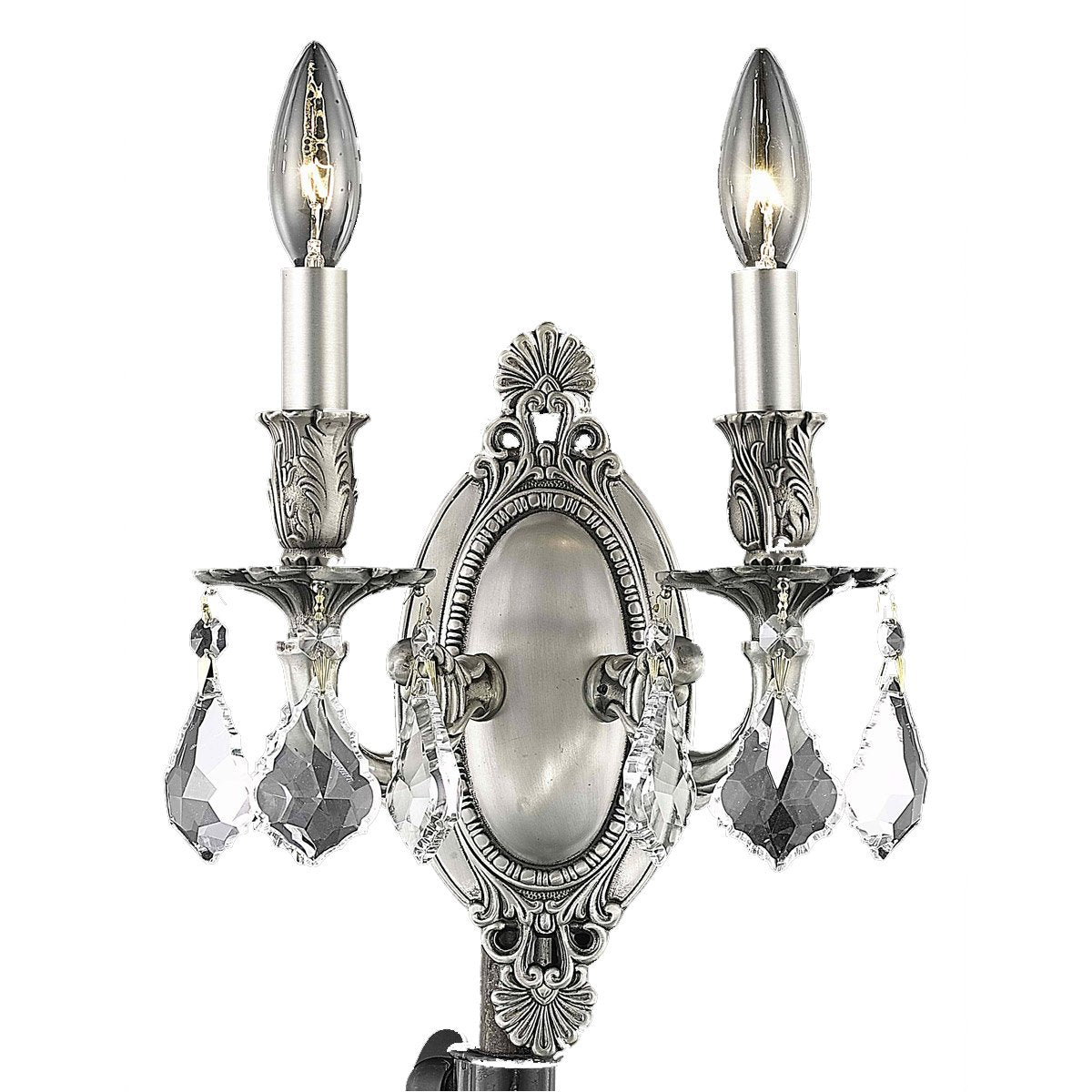 Rosalia 9 Crystal Wall Sconce With 2 Lights - Pewter Finish And Clear / Royal Cut Crystal Wall Sconce