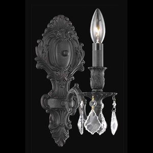 Monarch 5 Crystal Wall Sconce With 1 Light - Dark Bronze Finish And Clear / Spectra Swarovski Crystal Wall Sconce
