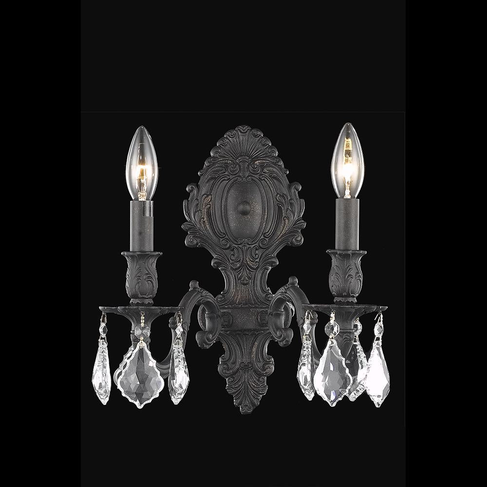 Monarch 10 Crystal Wall Sconce With 2 Lights - Dark Bronze Finish And Clear / Royal Cut Crystal Wall Sconce